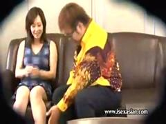 Asian amateur mature woman get fat man on sofa at office