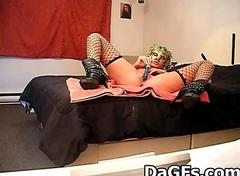 Exclusive cam solo with a masked French girl