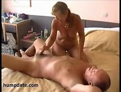Horny wife jerks off hubby´s cock
