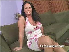 Bigtits horny cougar masturbates as she begs for a cock