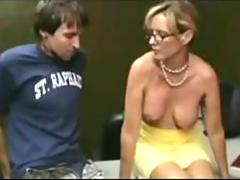 Milf Giving a Handjob To a Shy dude