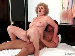 Lusty old hag fucking a young well hung man
