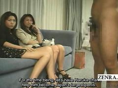 Subtitle tan Japanese amateurs CFNM handjob and blowjob