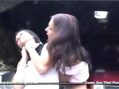 Naked slut punishing friend with a catfight and a rough blowjob