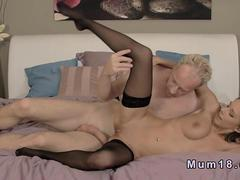 Blonde milf gets cum all over her pussy in bedroom
