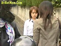 Japanese Milf and schoolgirl fucked together