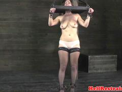 Mature sub tickled by lezdom master