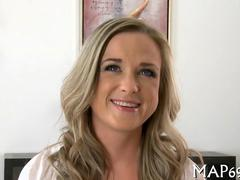 Horny blonde amateurs casting agents wants to fuck her