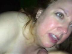 Cheating wife sucking on a young shaft