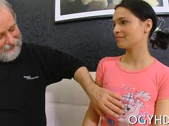 Old fat pervert nails a busty whore while her boyfriend watches