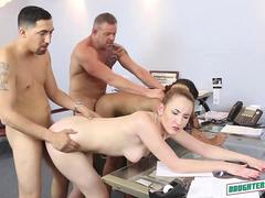 Gigi Flamez and Katalina Mills have group sex at office