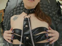 Cumforcover Tied up slut enjoys a blowbang while getting roughly face fucked and cummed on her face