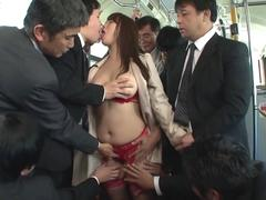 Adorable Asian slut gets groped in the bus by many men