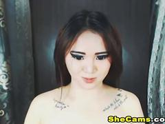 Horny Shemale With Big Cock Jacking Off on Cam