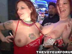 College babes flashing off their tits for beads at Mardi Gras
