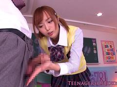 Asian handjob in class