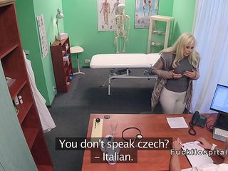 Big boobs Italian blonde bangs in hospital