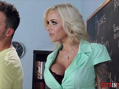 Blonde Cougar gets Him off in School