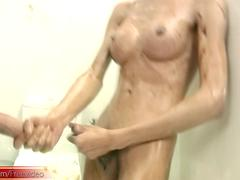 Big boobed ladyboy covered in chocolate swallows thicks cock