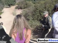 Blonde hottie forced to roughly bang at border