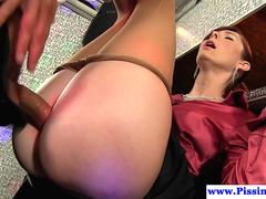 Elegant mature slut is tempted to spread her legs for this fellow with a hulking willy and fuck in different poses and gets pissed on