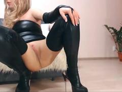 Hot MILF in leather shows what she got