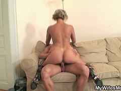This hot granny wants to spread her legs for this hunk with a hulking pecker and get fucked in several positions