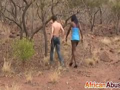 African Slut Forced To Suck White Cock Outdoors