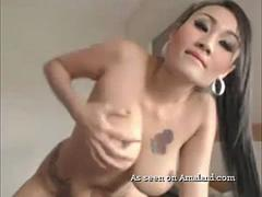 Hot inked Asian plays with her toy