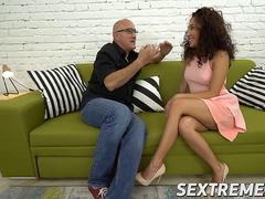 Big Bruno fucks horny Petite Meldy till she squirt many times