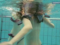 Two super hot teens in the pool