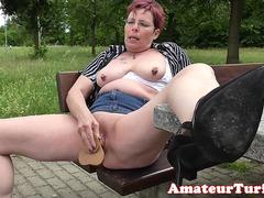 Amateur exhibitionist wife toys cunt outdoors