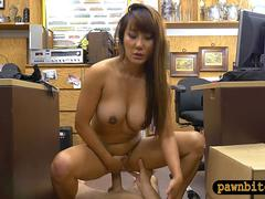 Busty oriental woman nailed by pawn man at the pawnshop