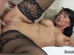 German MILF in Stockings Fuck with Young Guy with Big Dick