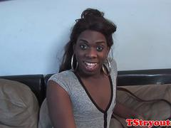Casting black teen stroking her huge wang
