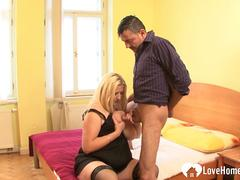 Chubby blonde mom is great at cock pleasing