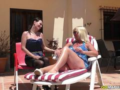 Mature lesbians Melody Charm and Annabelle More fooling around