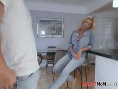 Perverted milf catches her horny stepson masturbating with her panties