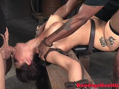 Busty MILF facefucked during BDSM scene
