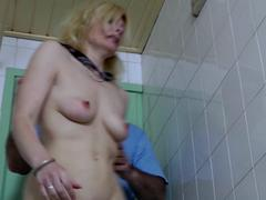 Blonde slut brutally beaten in the bathroom