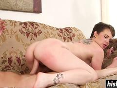 Short haired babe rides a dick