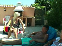 GERMAN WIFE MADE HUSBAND TO CUCKOLD AND FUCK BOY AT HOLIDAY