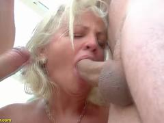 73 years old grannies first double penetration