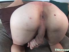 Spex tgirl toying her asshole at casting