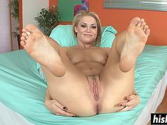 Ash exposes her tight shaved pussy