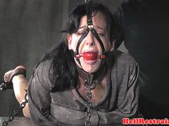 Gagged smalltits sub gets toyed during BDSM