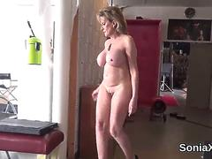 Cheating british milf lady sonia reveals her large tits