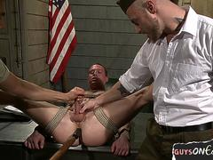 Tied up bdsm gay is machine fucked