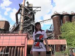 Jeny Smith is walking naked through an abandoned factory