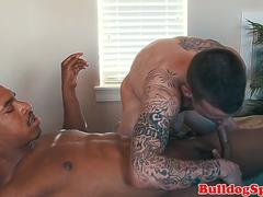 Euro stud gets massaged by black punk